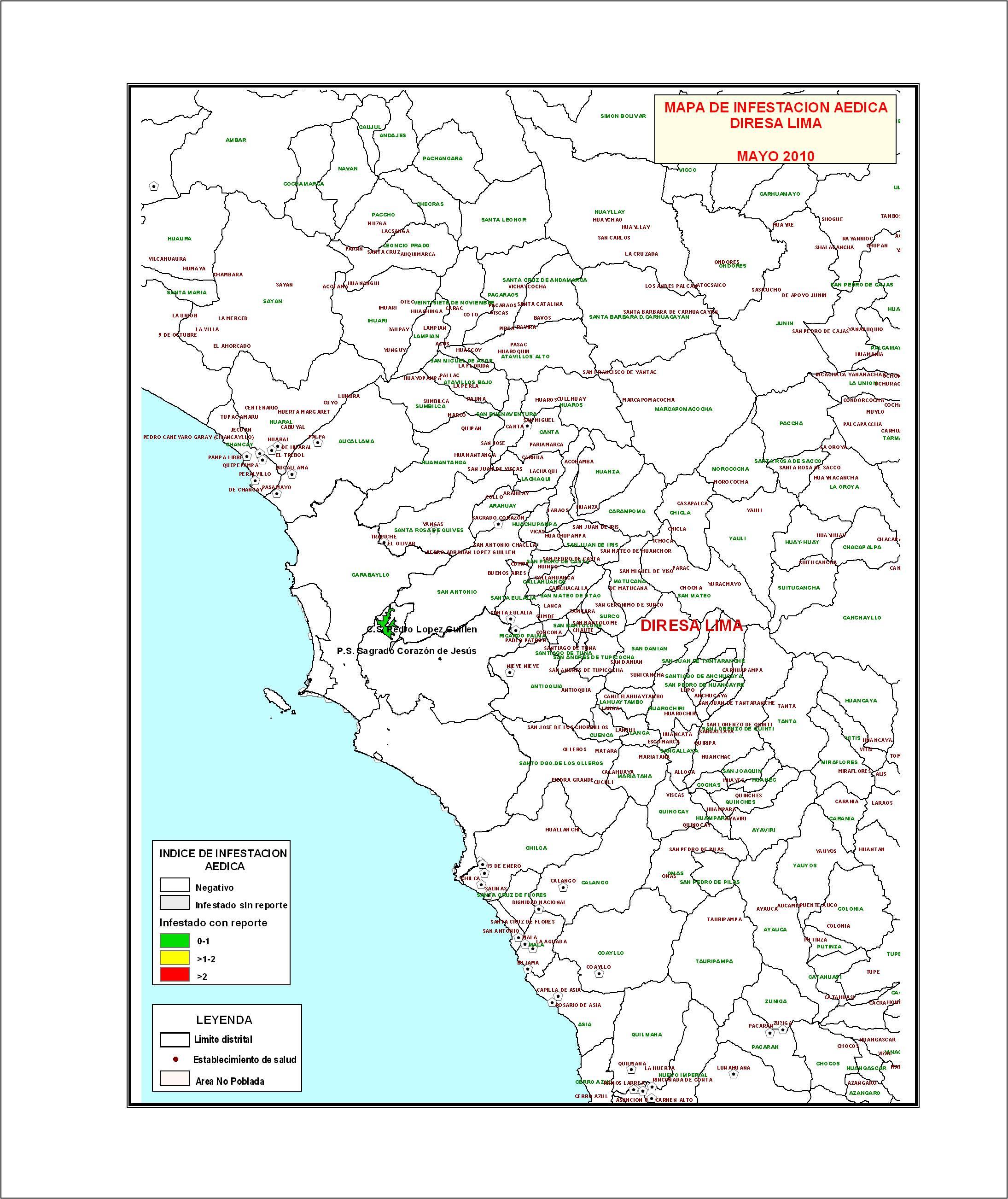 Mapas de Infestacin Adica A Nivel Nacional  DIGESA